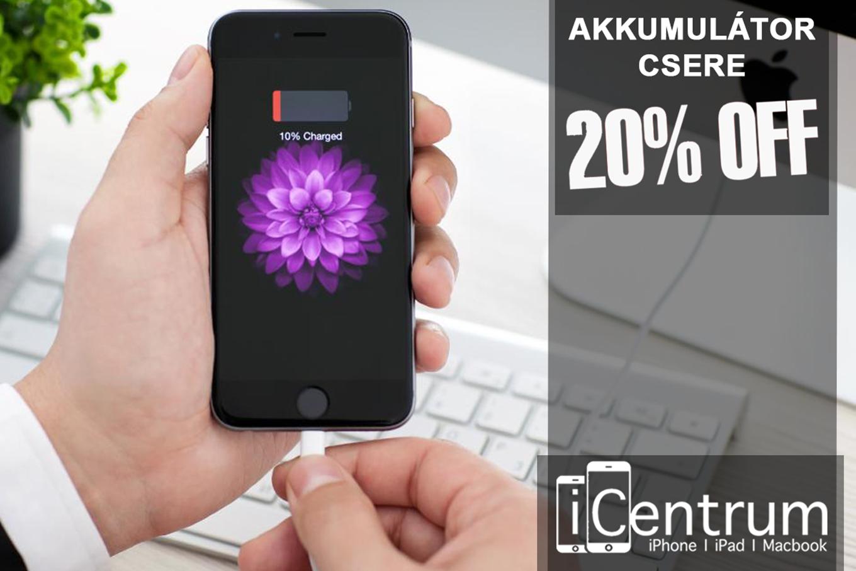 iPhone akkumulátor csere akció az iCentrumnál