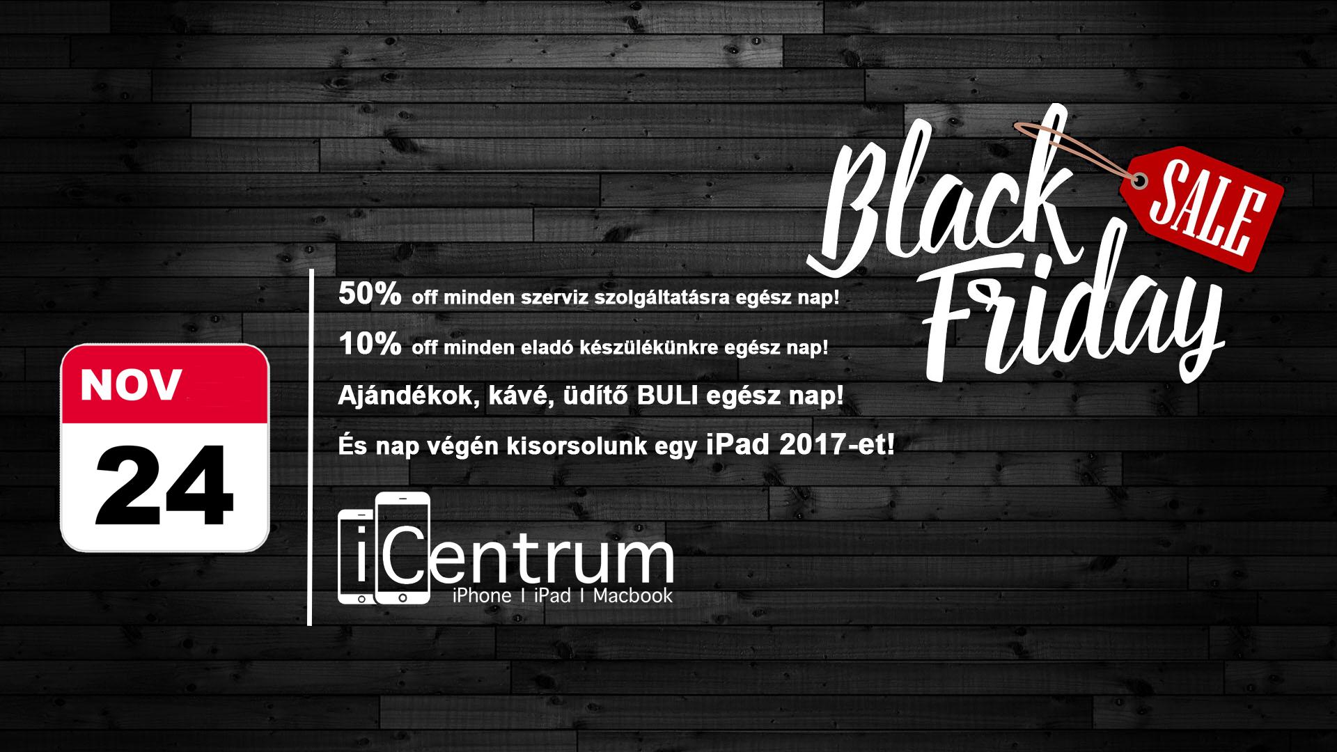 Nyerj egy iPadet az iCentrumnál, itt a 2017-es Black Friday ajánlatuk!