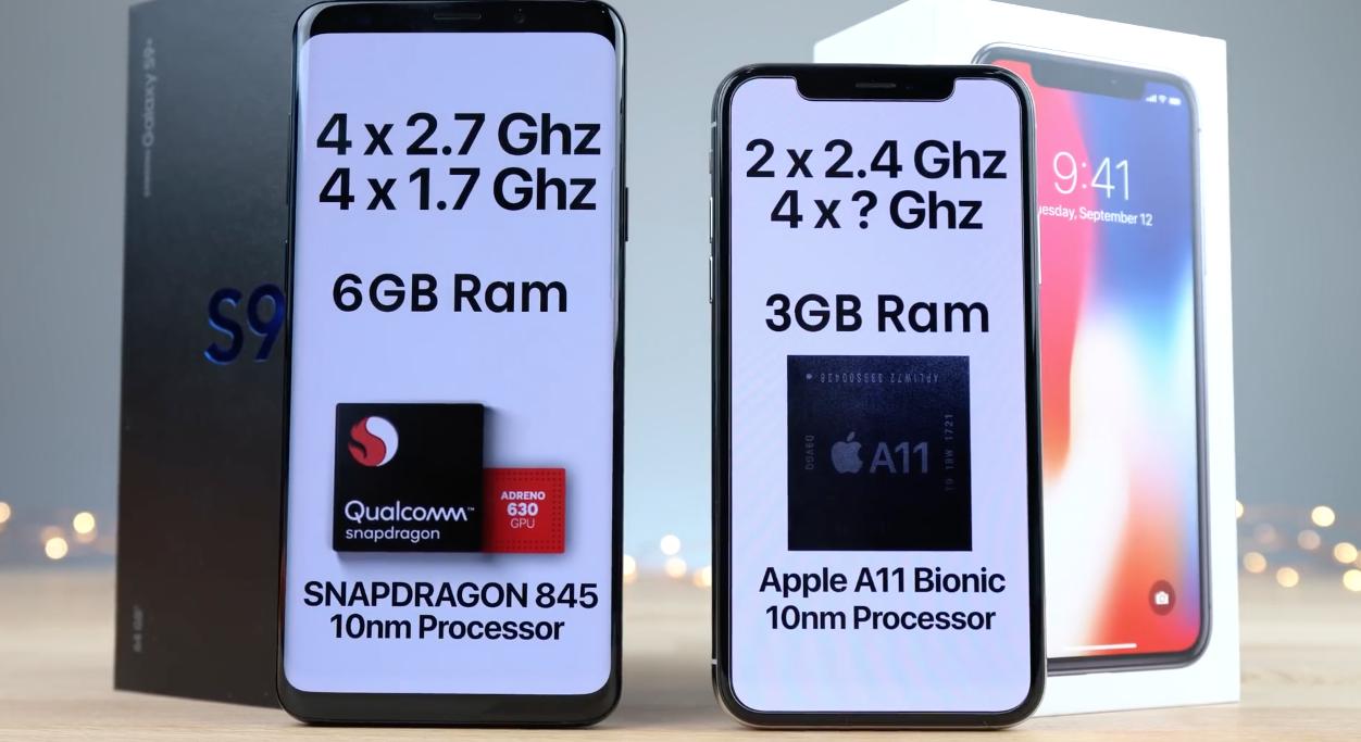 Samsung Galaxy S9 Plus vs iPhone X sebességteszt [videó]