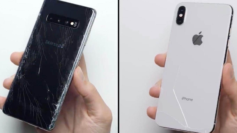 Galaxy S10+ vs iPhone XS Max – melyik mobil a strapabíróbb? (Videó)